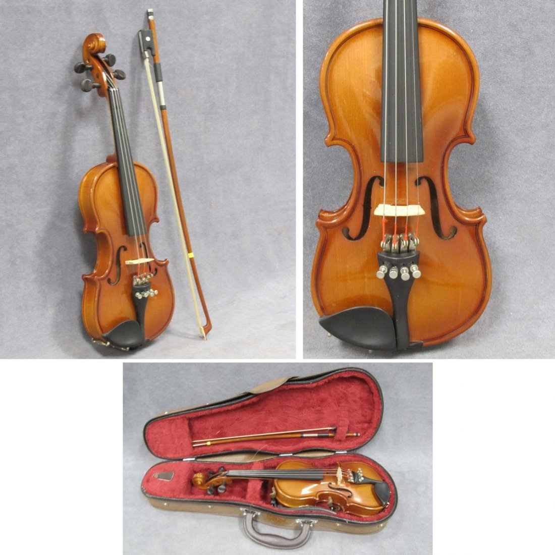CHILD'S HALF-SIZE VIOLIN WITH BOW AND CASE