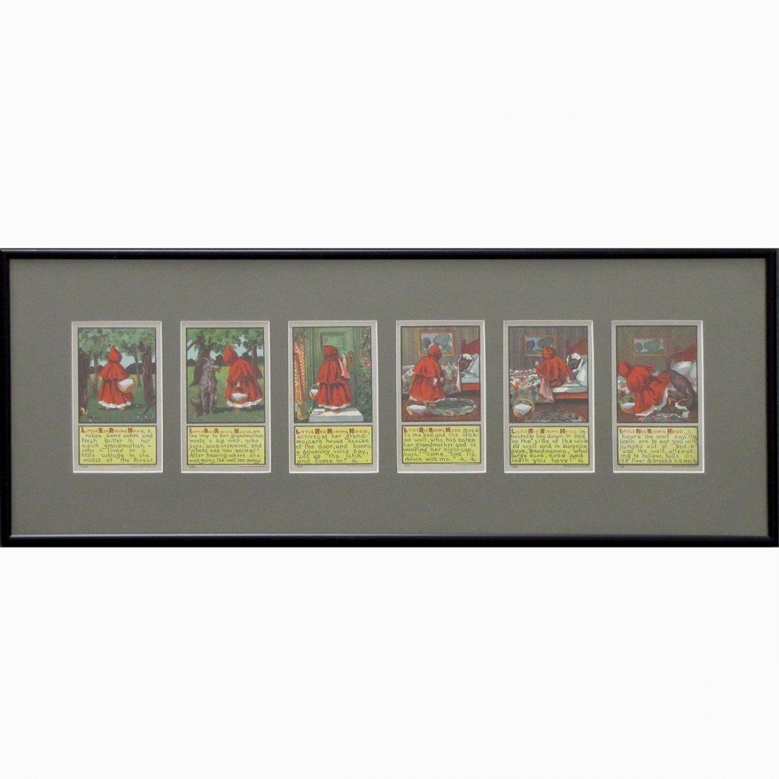SET (6) 1906 LITTLE RED RIDING HOOD POSTCARDS
