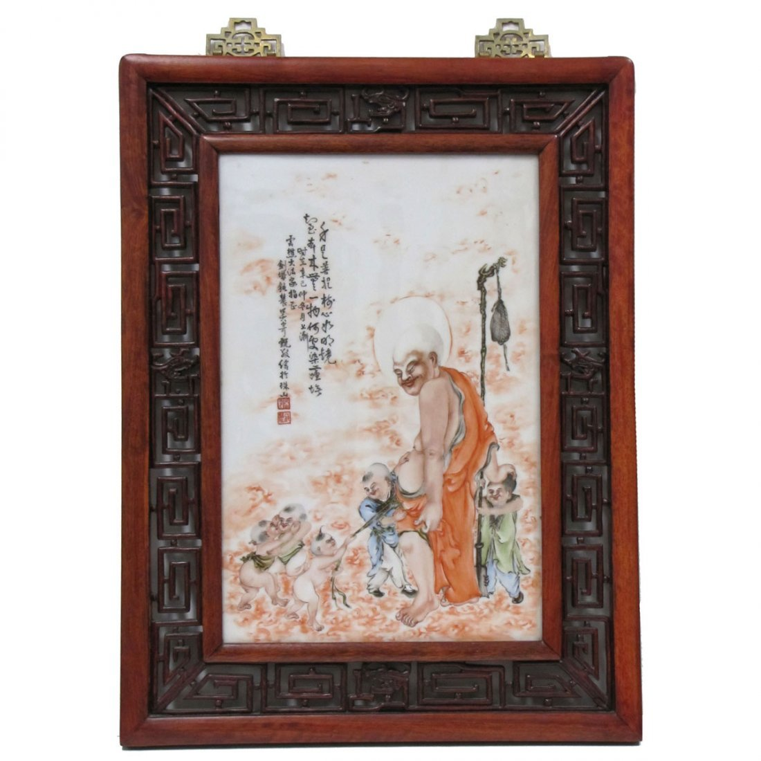 CHINESE DECORATED PORCELAIN PANEL, LOHAN/CHILDREN