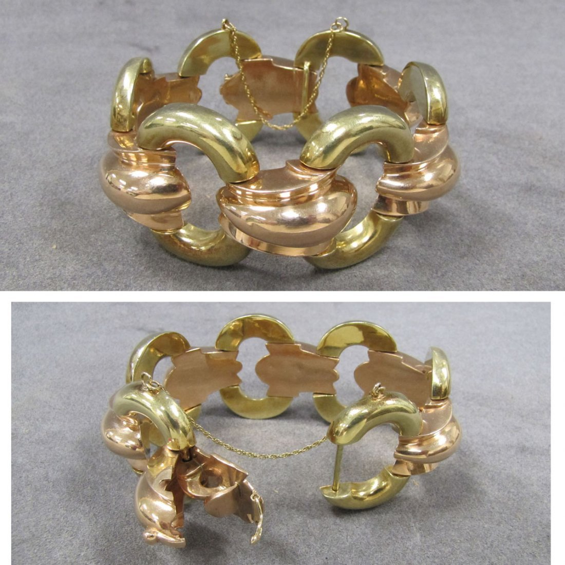 TIFFANY & CO 14K YELLOW & PINK GOLD RETRO BRACELET