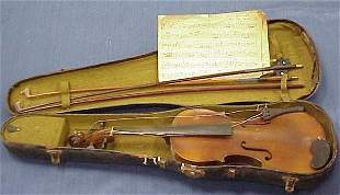 VINTAGE VIOLIN WITH (2) BOWS AND CASE