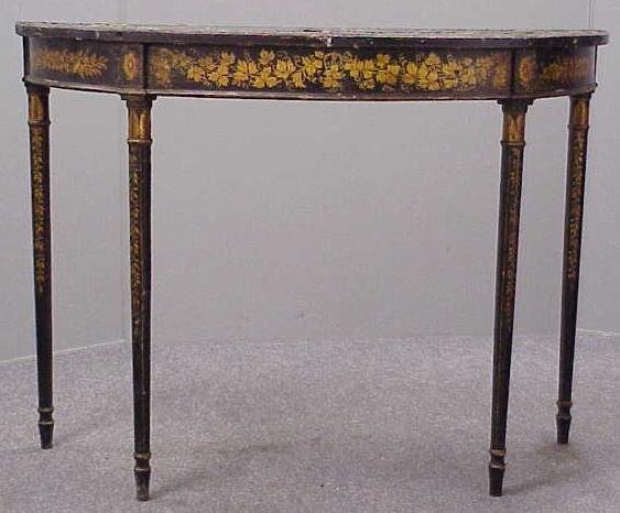 2261: ENGLISH PAINTED PINE DEMI-LUNE TABLE