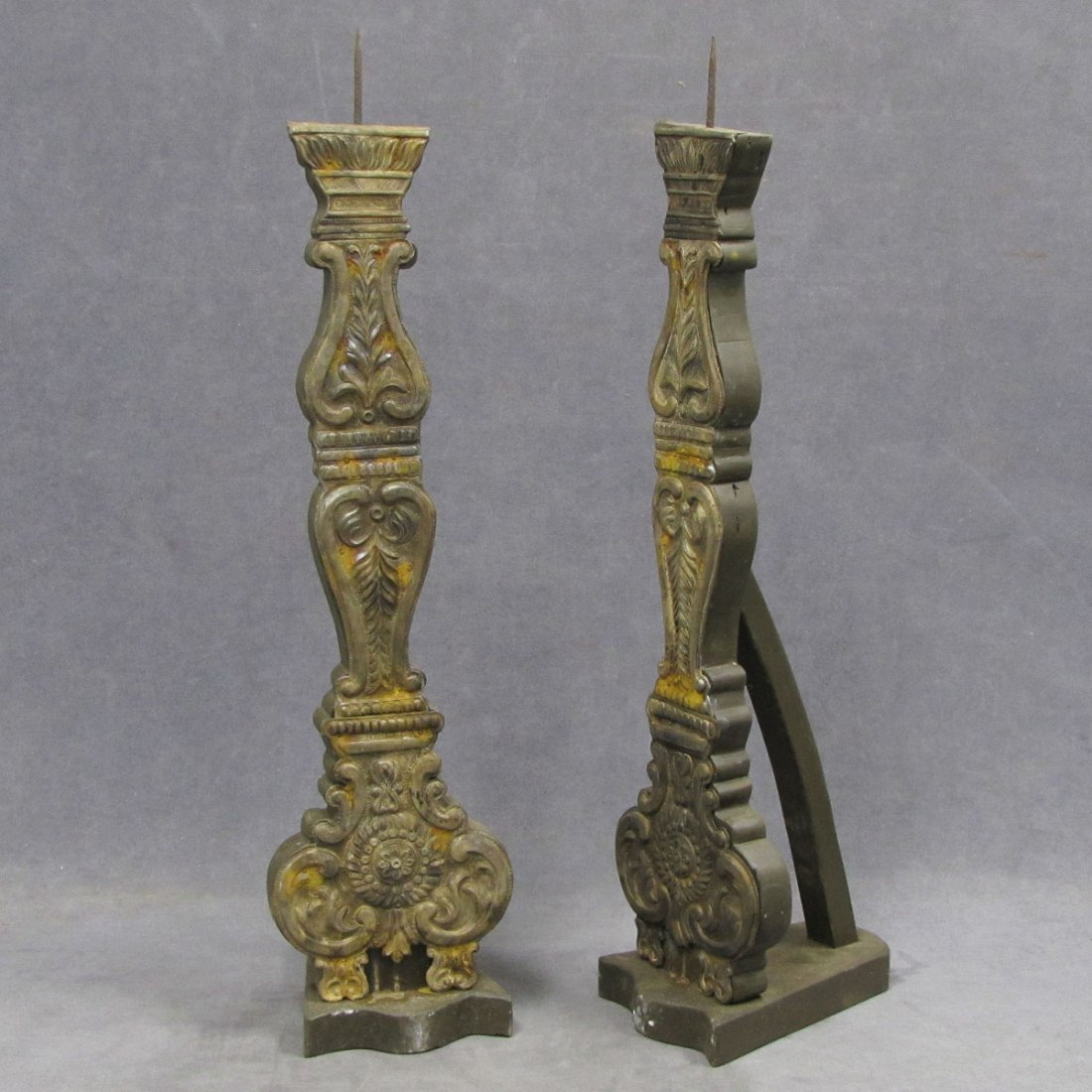 PAIR SILVER MOUNTED WOOD PRICKET CANDLEHOLDERS
