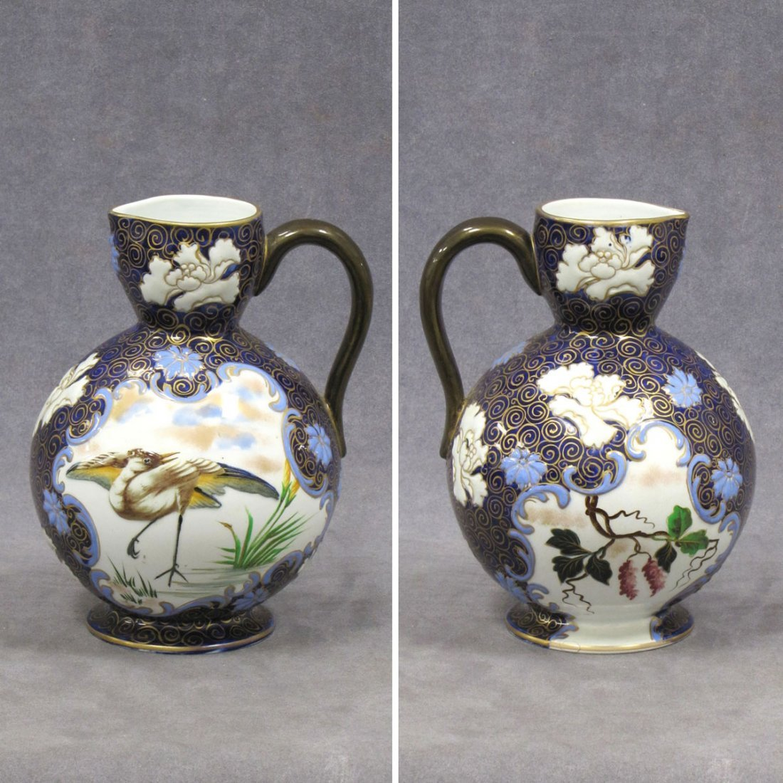 RUSSIAN GILT DECORATED AND ENAMELED COBALT POTTERY