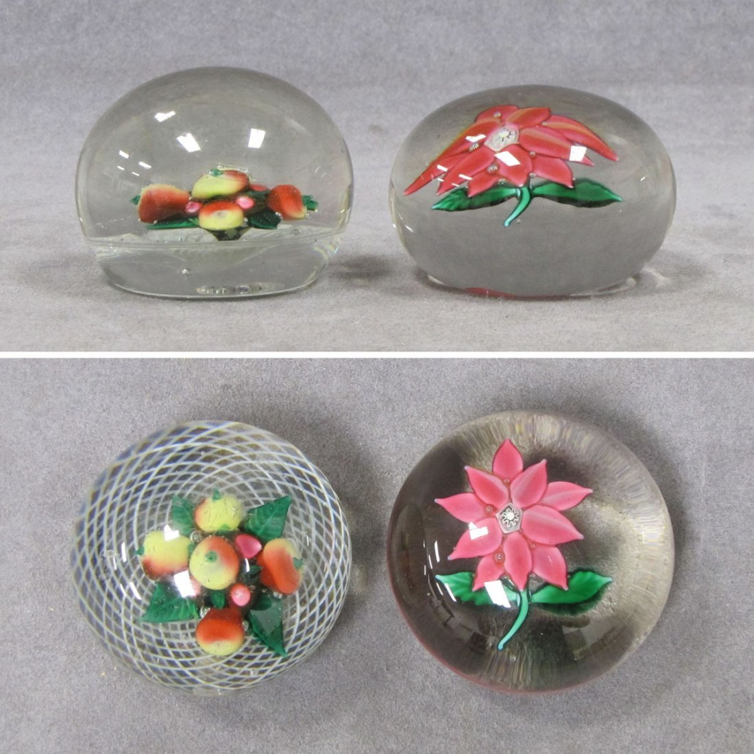 LOT (2) FRUIT AND FLOWER CRYSTAL PAPERWEIGHTS