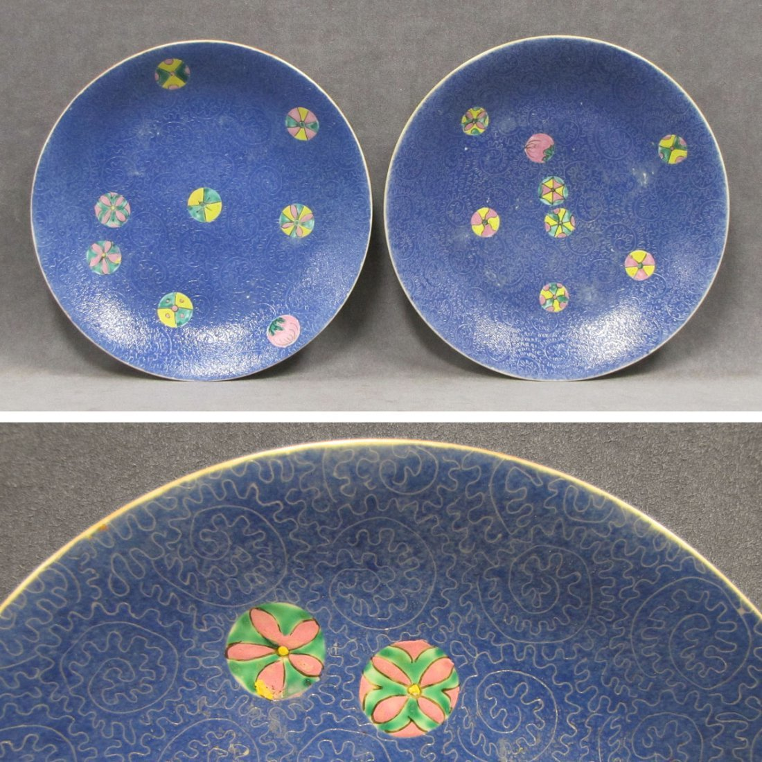PAIR CHINESE DECORATED PORCELAIN PLATES