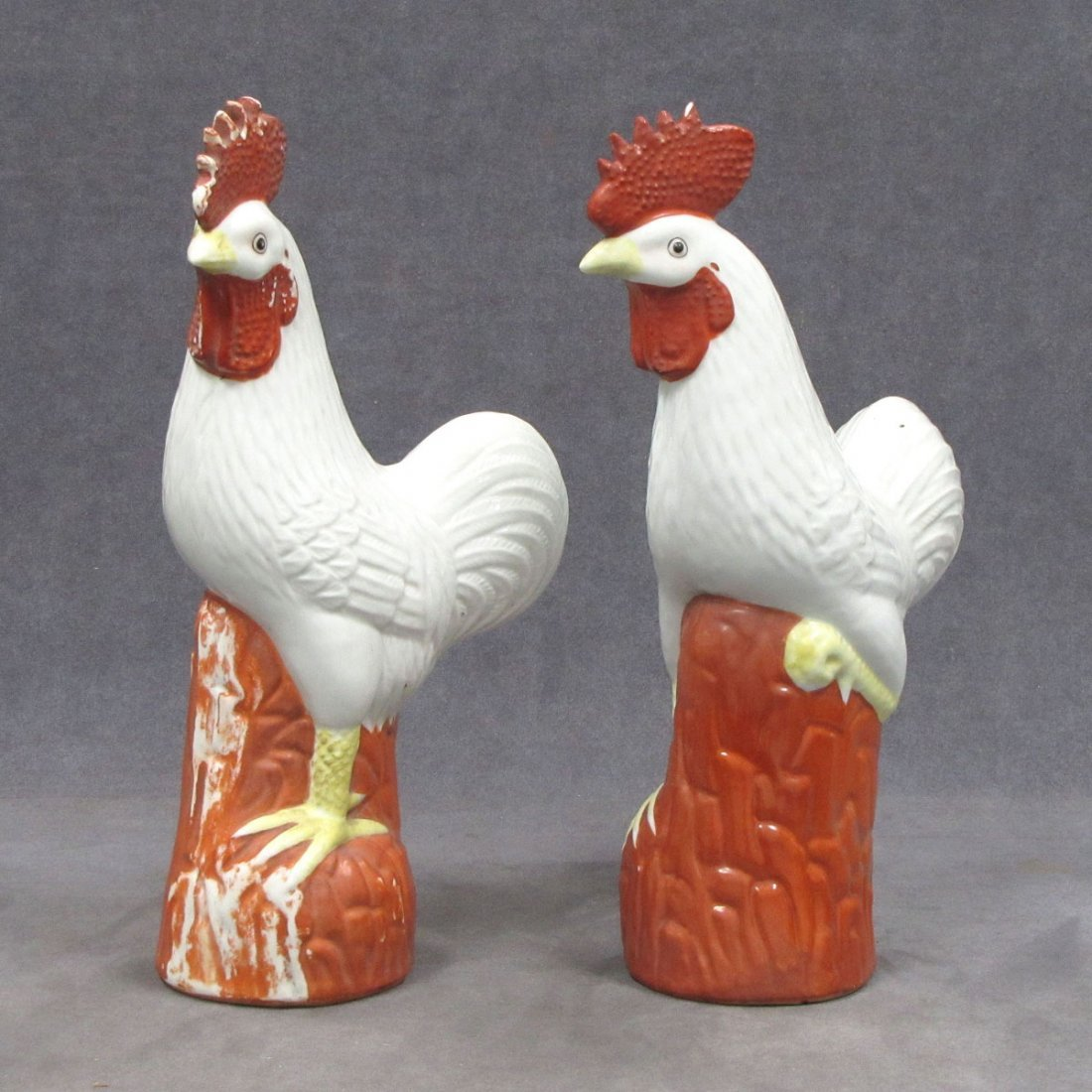 PAIR CHINESE PORCELAIN DECORATED COCKERELS