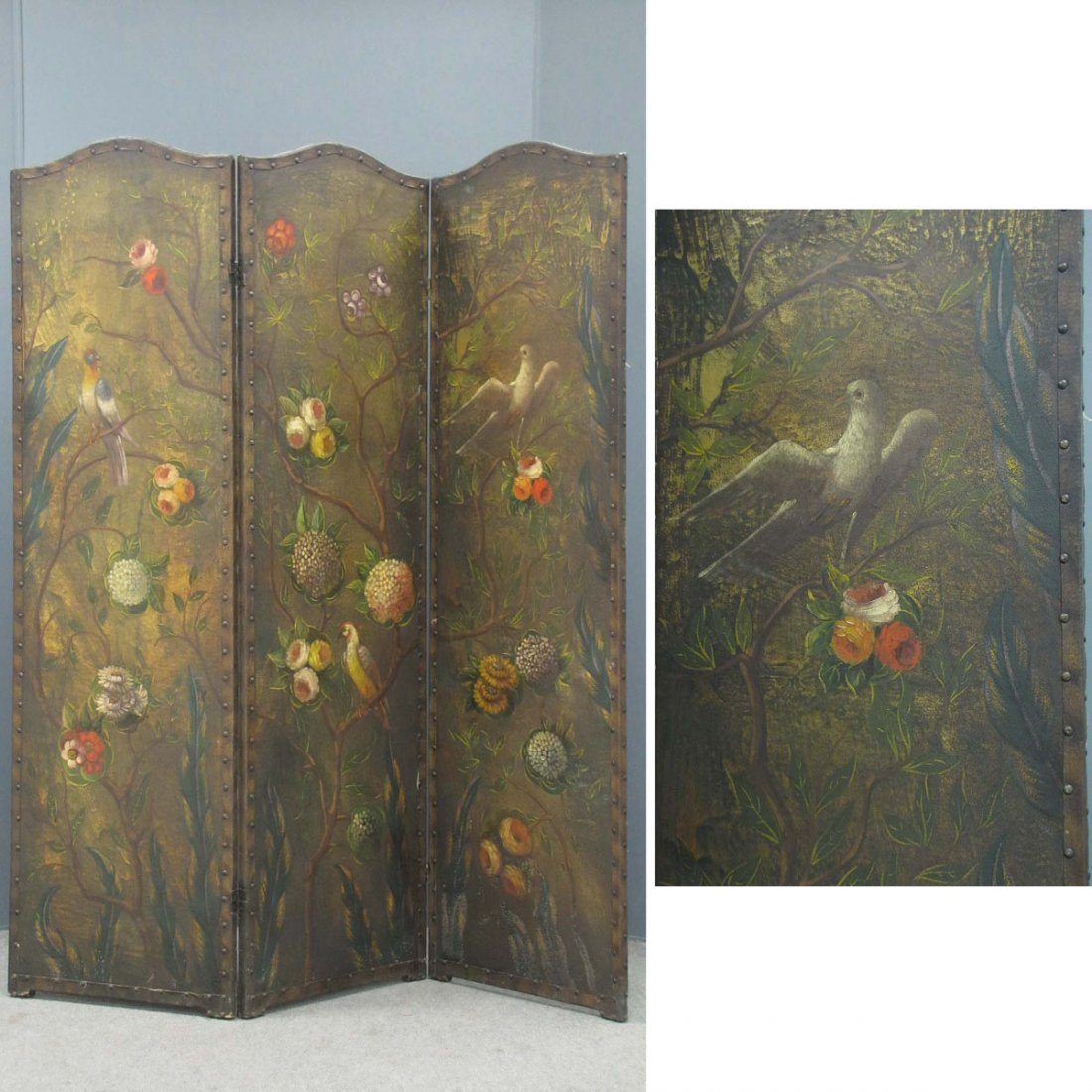 ART DECO HAND DECORATED 3-PANEL SCREEN