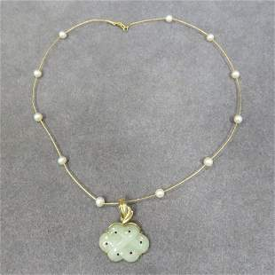 14K YELLOW GOLD CHINESE JADE CARVED PENDANT