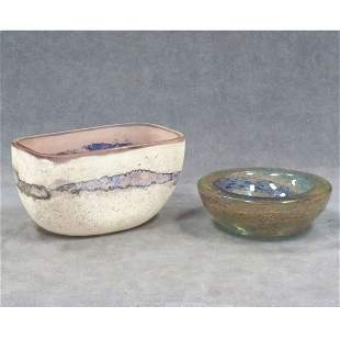 LOT (2) MURANO ART GLASS INCLUDING BARBINI VASE