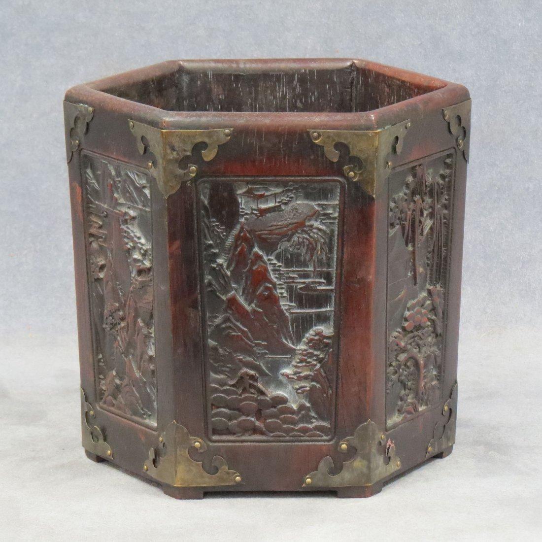 CHINESE HARDWOOD HEXAGONAL PANELED BRUSH POT