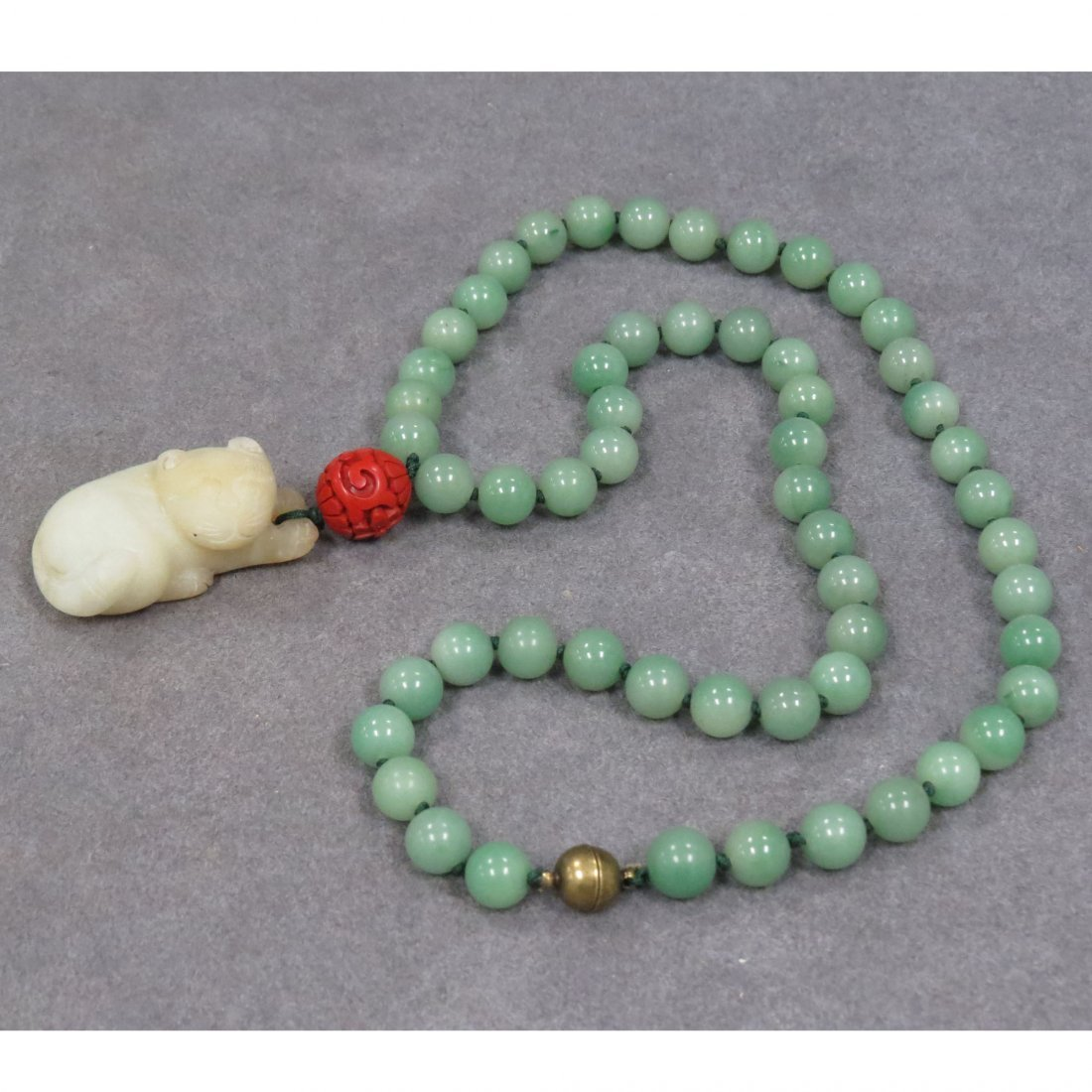 STRAND NECKLACE WITH 9.88-9.95MM CHRYSOPRASE BEADS