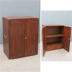 ANGLO INDIAN CARVED TEAKWOOD CAMPAIGN CABINET