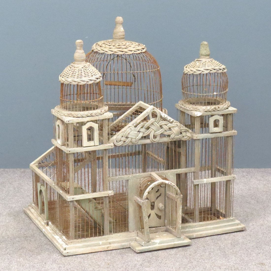 VINTAGE WOOD/WIRE AND WICKER BIRD CAGE