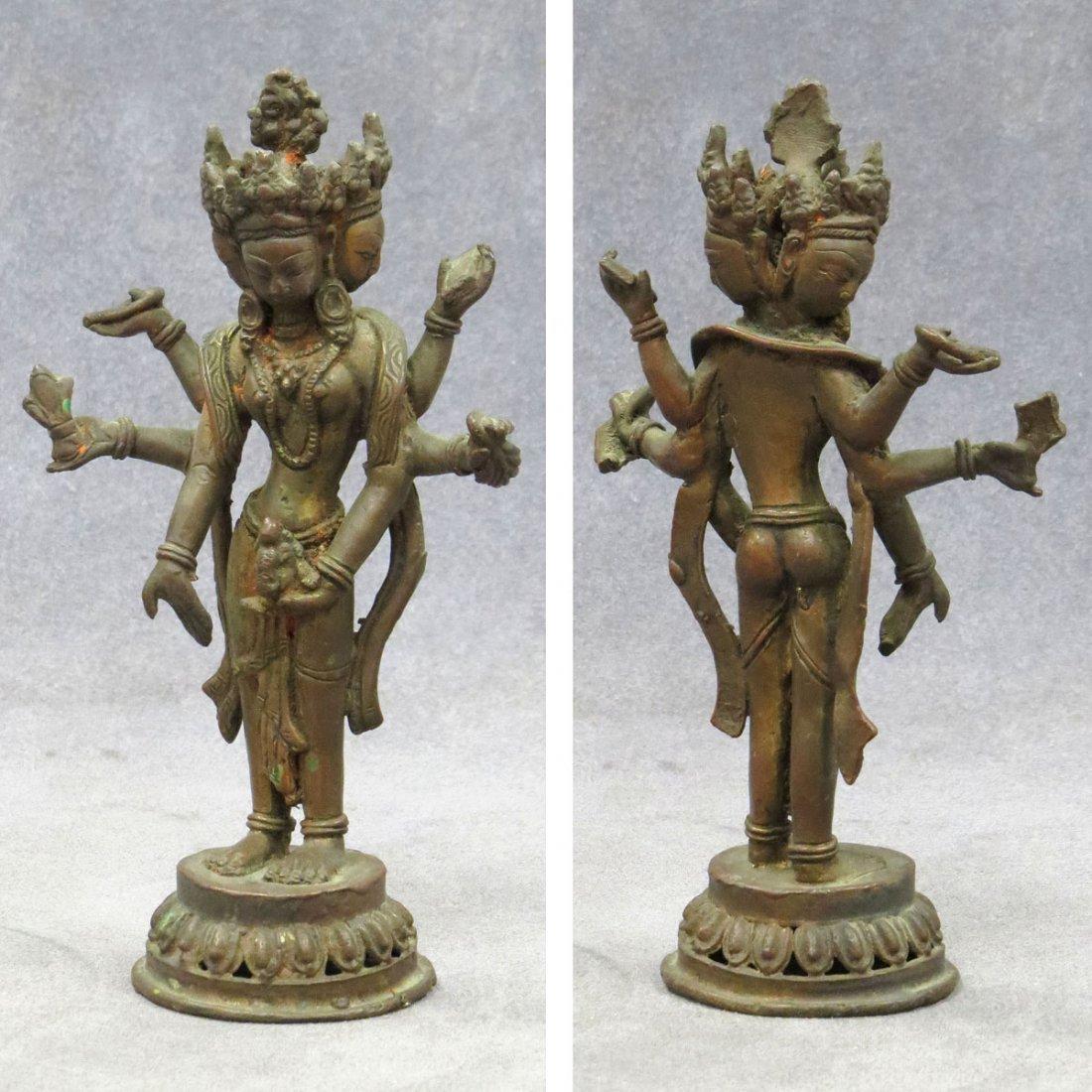 INDIAN BRONZE FIGURE OF SARASVATI