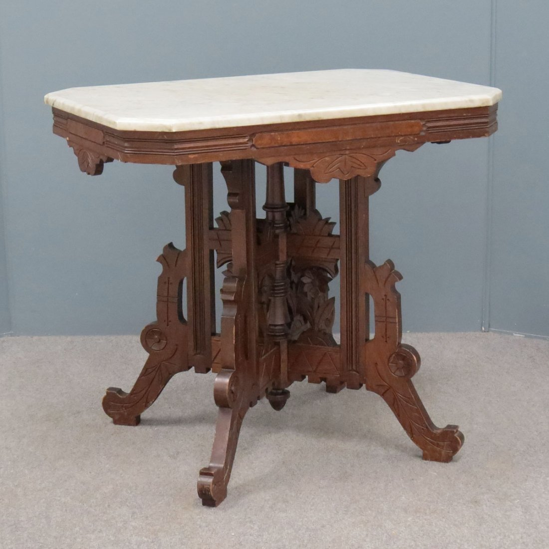 VICTORIAN MARBLE-TOP CENTER TABLE