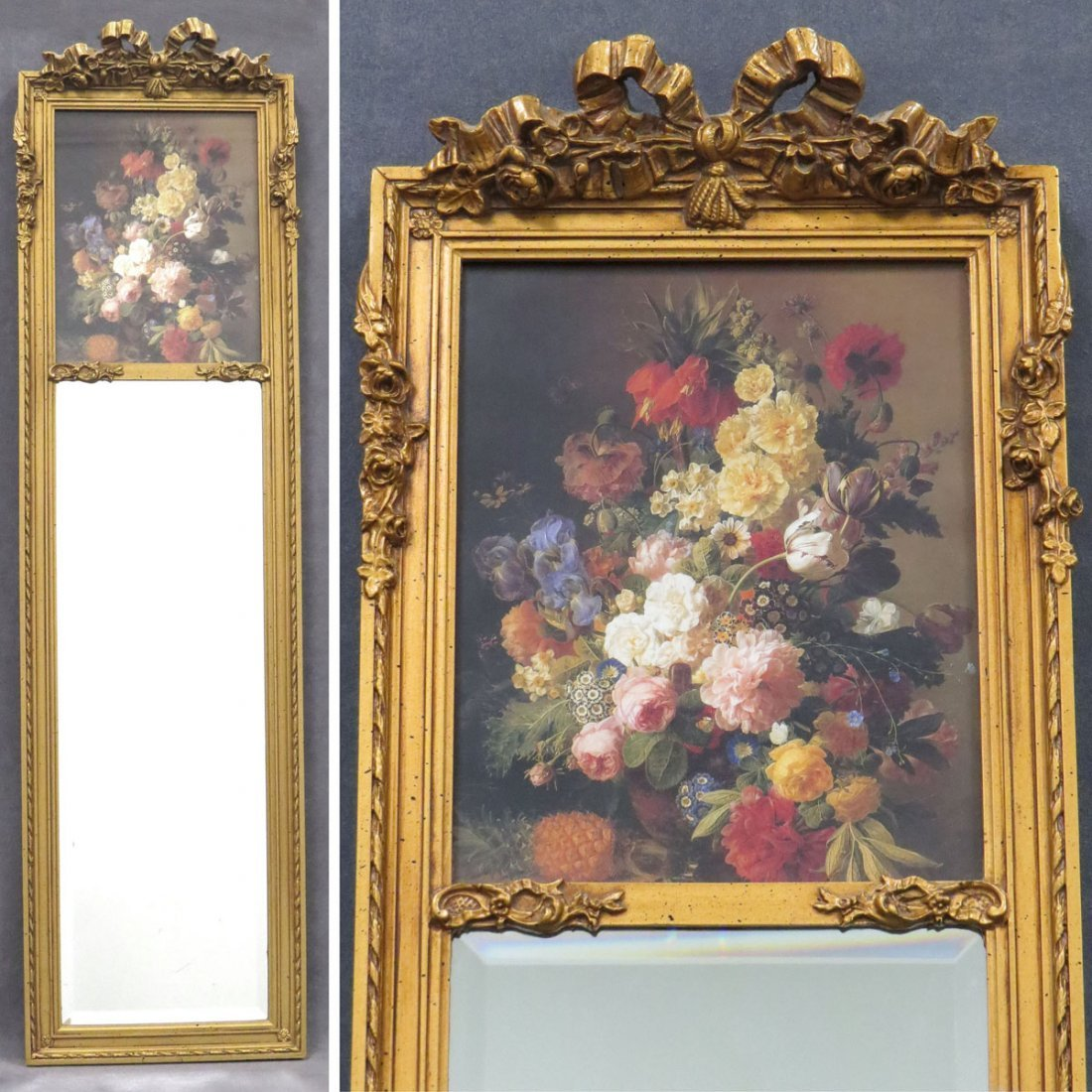 FRENCH STYLE TRUMEAU MIRROR WITH BEVELED GLASS