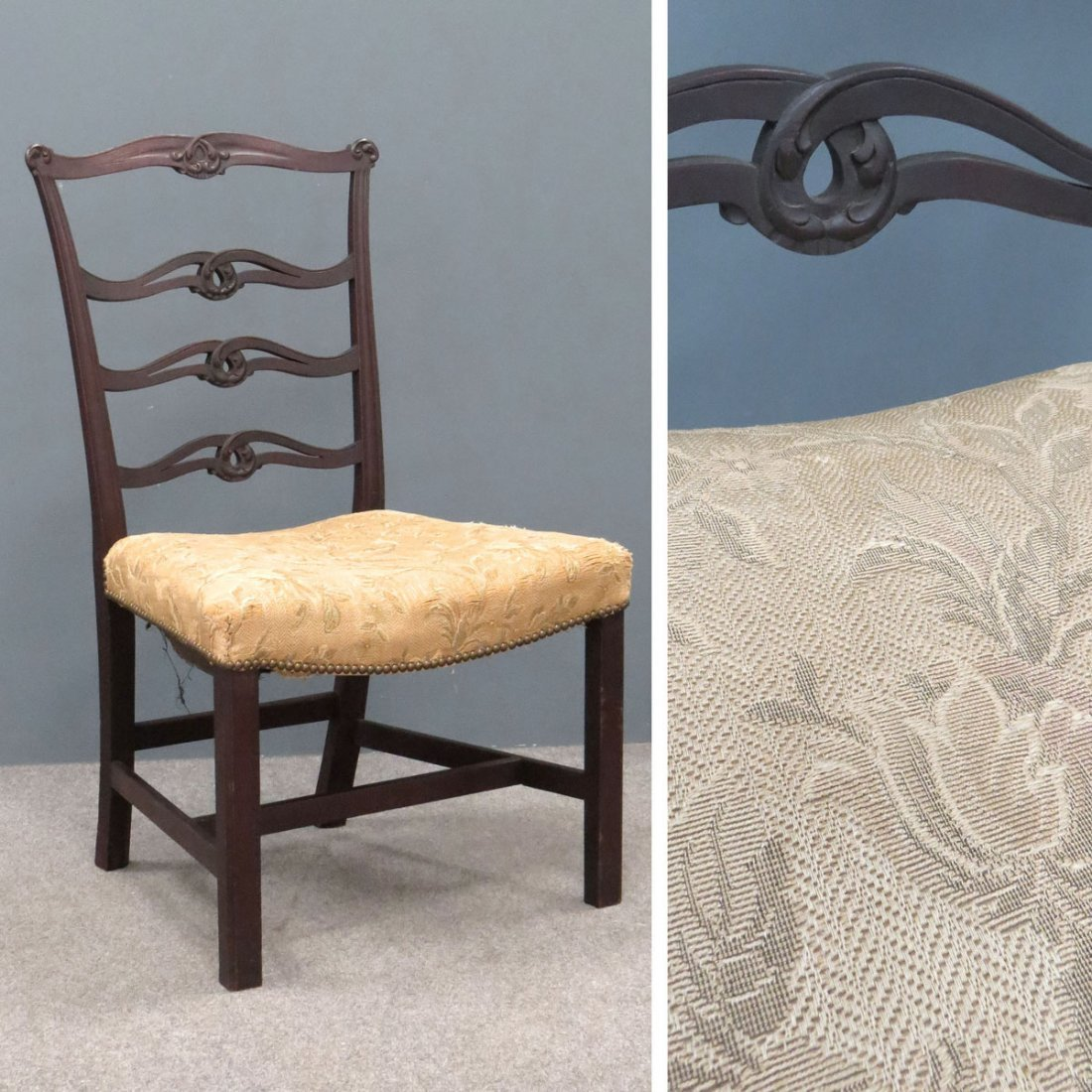 CHIPPENDALE CARVED RIBBON-BACK SIDE CHAIR