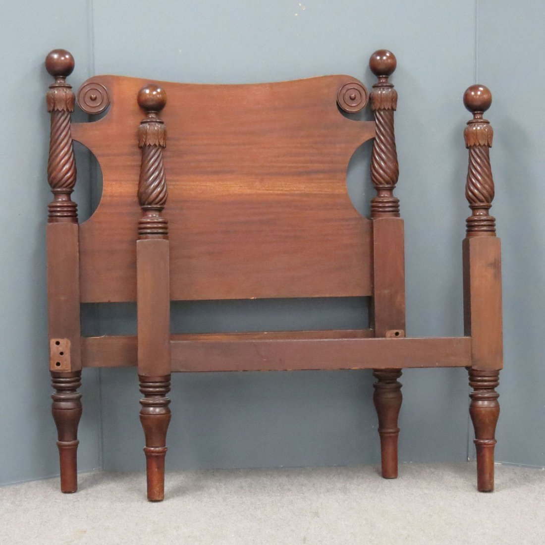PAIR FEDERAL STYLE CARVED MAHOGANY SINGLE BEDS