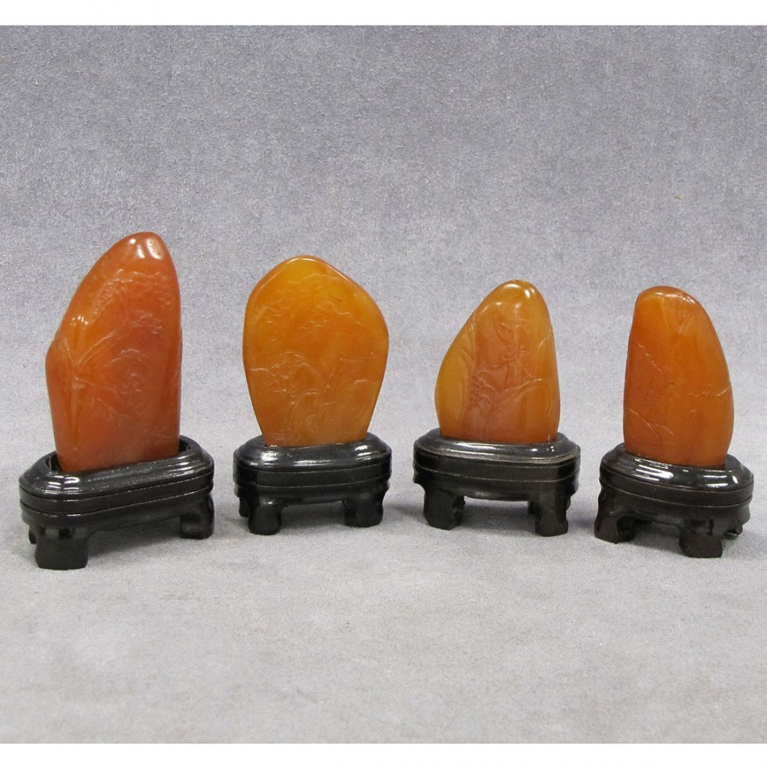 LOT (4) CHINESE TIEN WANG CARVED STONES