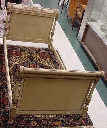 15: FRENCH PAINTED & PARCEL GILT BED