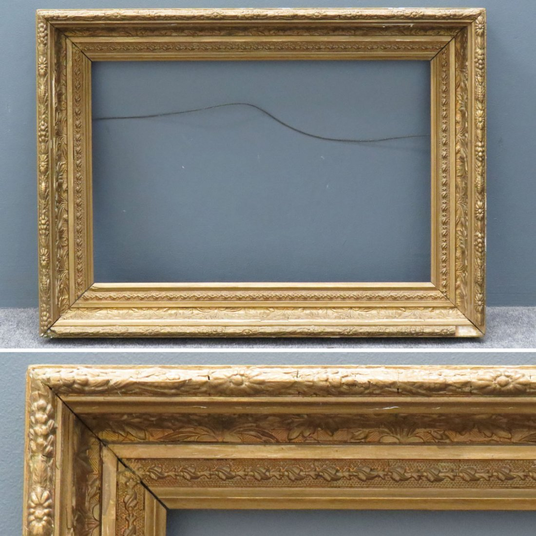 VINTAGE MOLDED, PAINTED, AND GILT FRAME