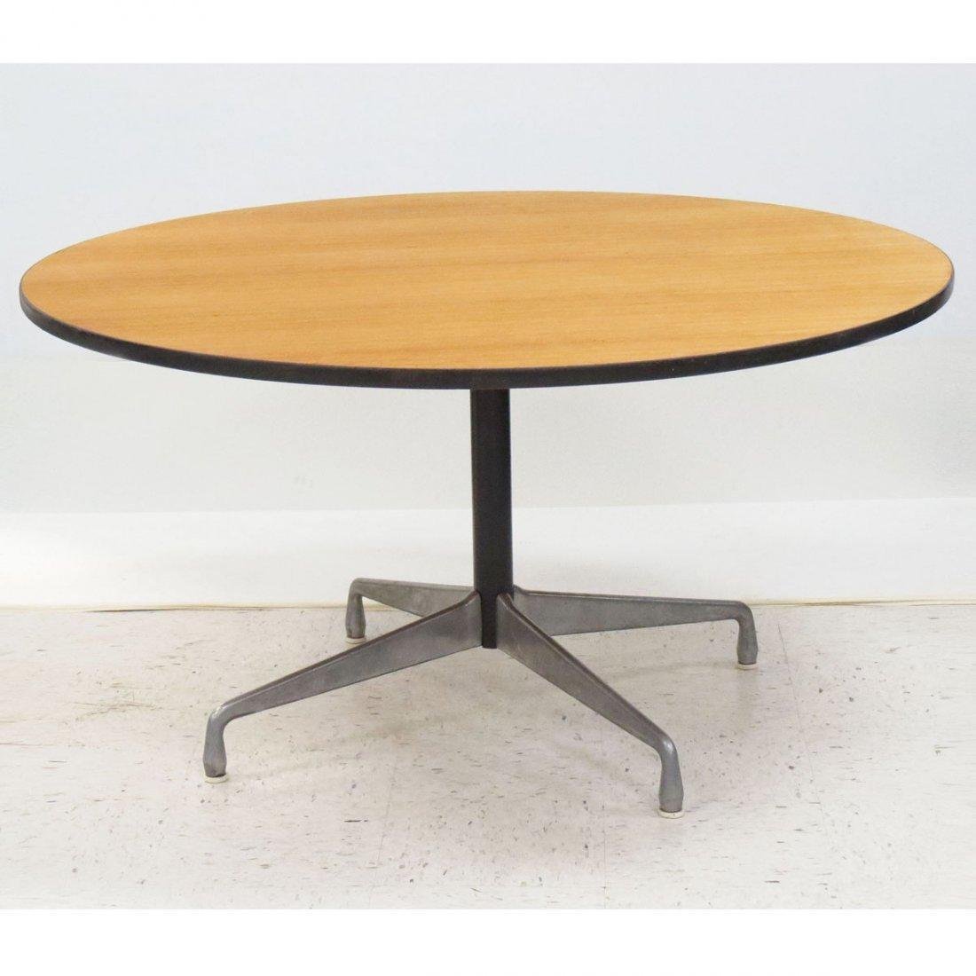 HERMAN MILLER ROUND OAK DINING TABLE