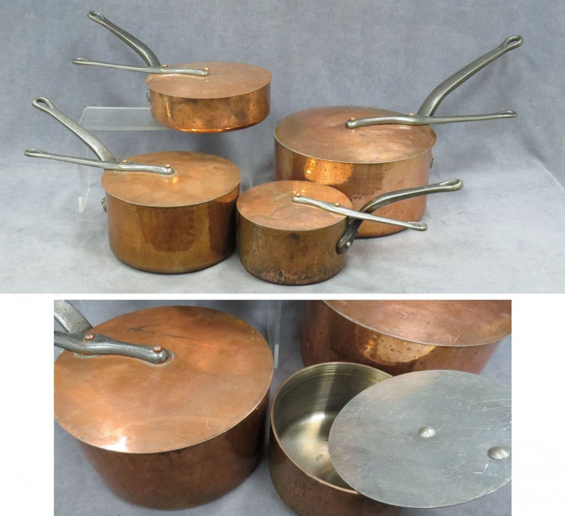 SET (8) PIECES FRENCH HAMMERED COPPER COOKWARE
