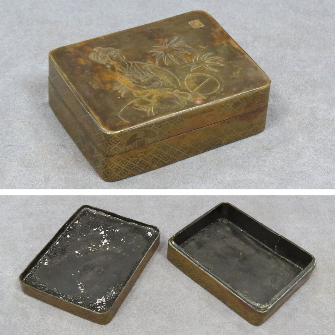 CHINESE ENGRAVED BRASS BOX WITH INK STONE IN LID