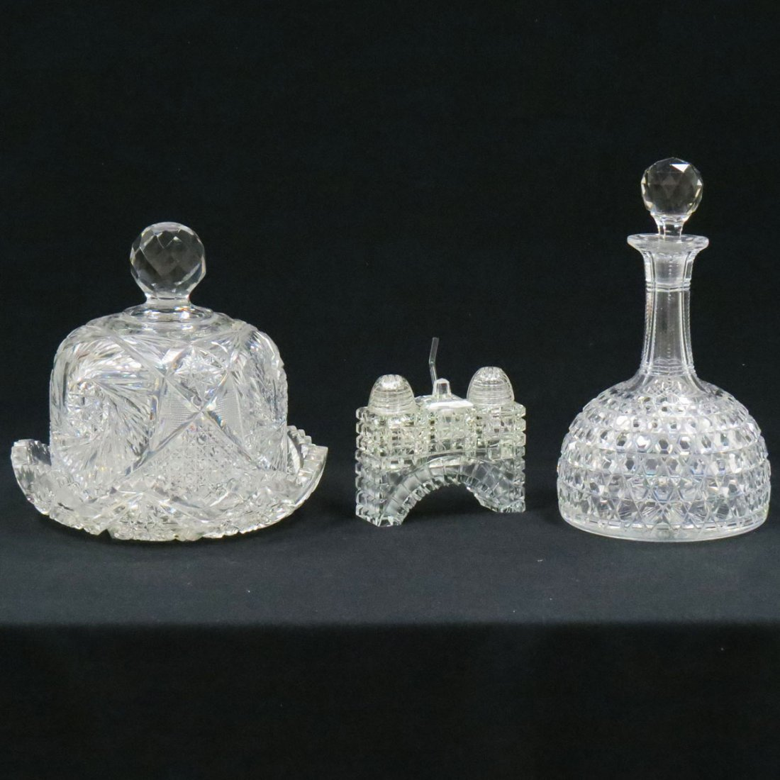 LOT (3) CUT GLASS INCLUDING CHEESE DOME
