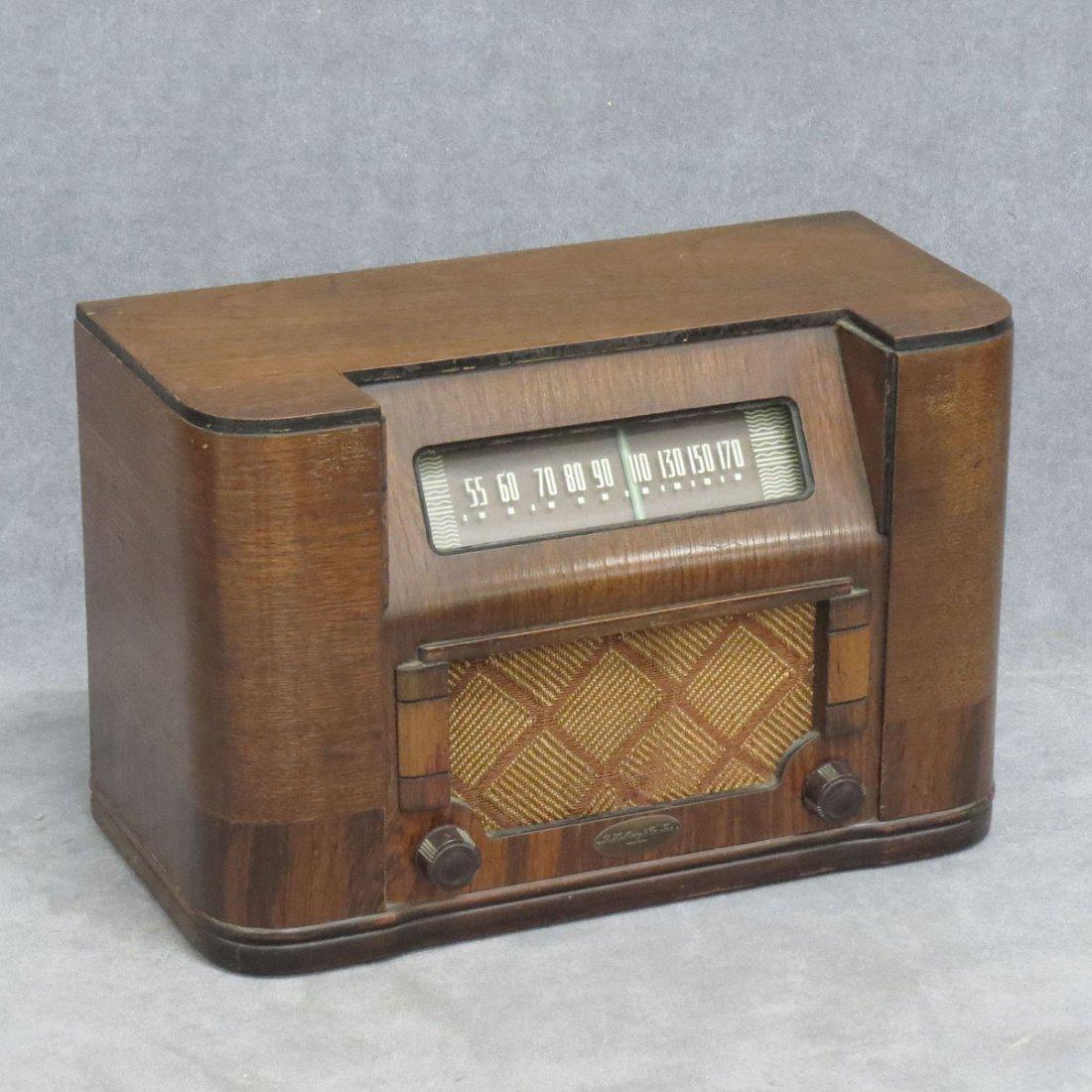 ART DECO MAHOGANY INLAID TABLE RADIO