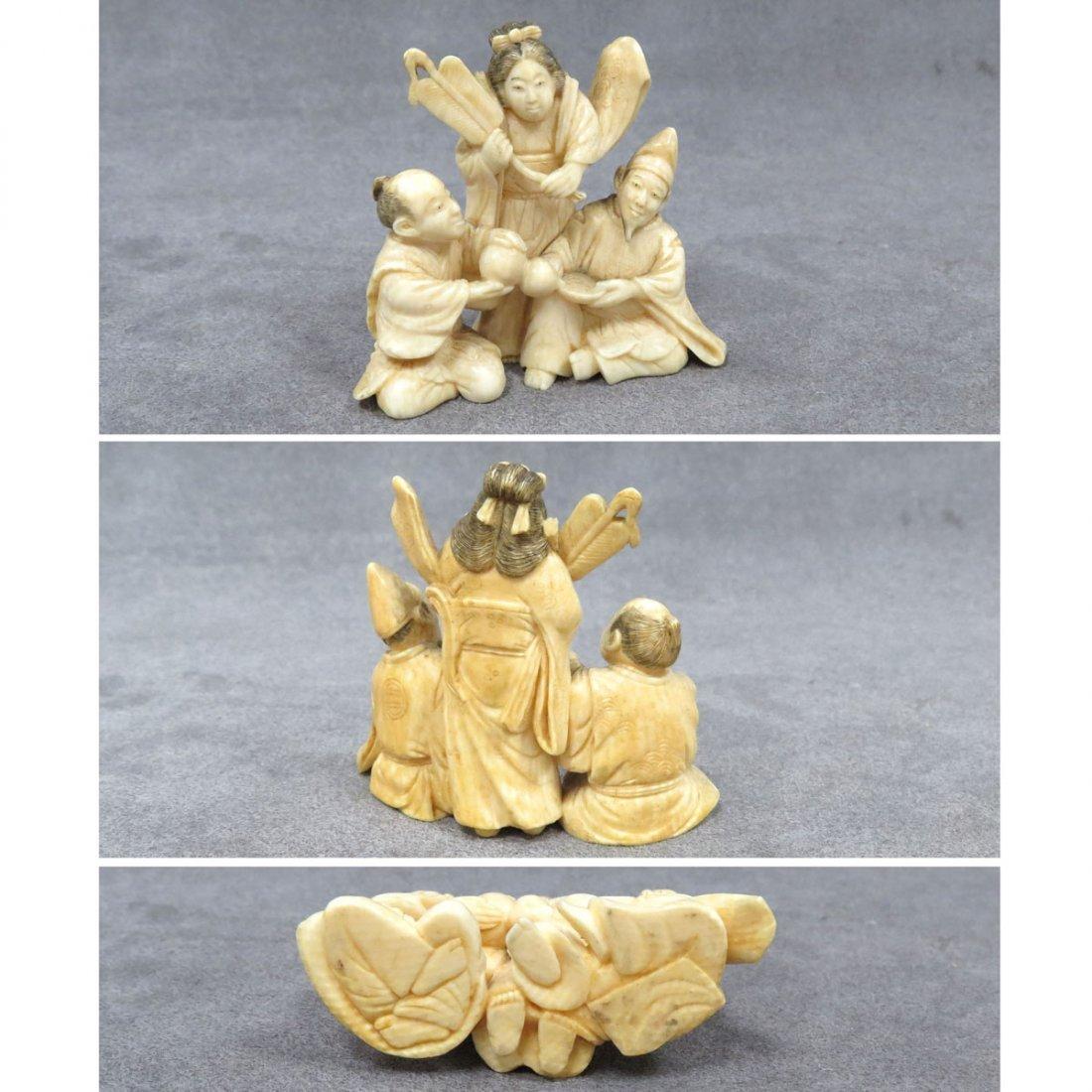 JAPANESE CARVED IVORY OKIMONO, THREE FIGURES