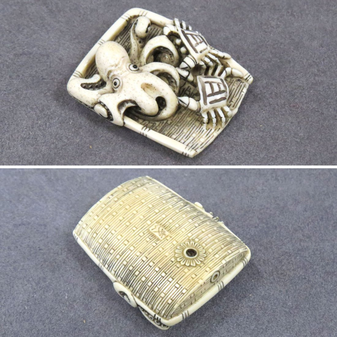 JAPANESE CARVED IVORY NETSUKE, OCTOPUS AND CRABS