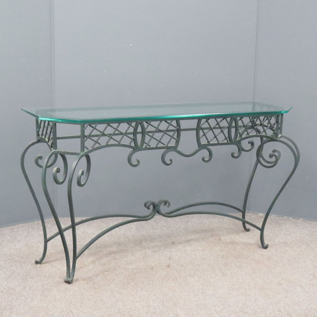 WROUGHT IRON AND PLATE GLASS CONSOLE TABLE