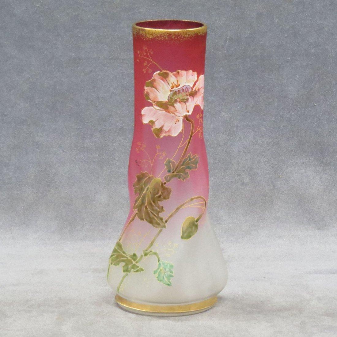 VICTORIAN CRANBERRY/SATIN GLASS DECORATED VASE