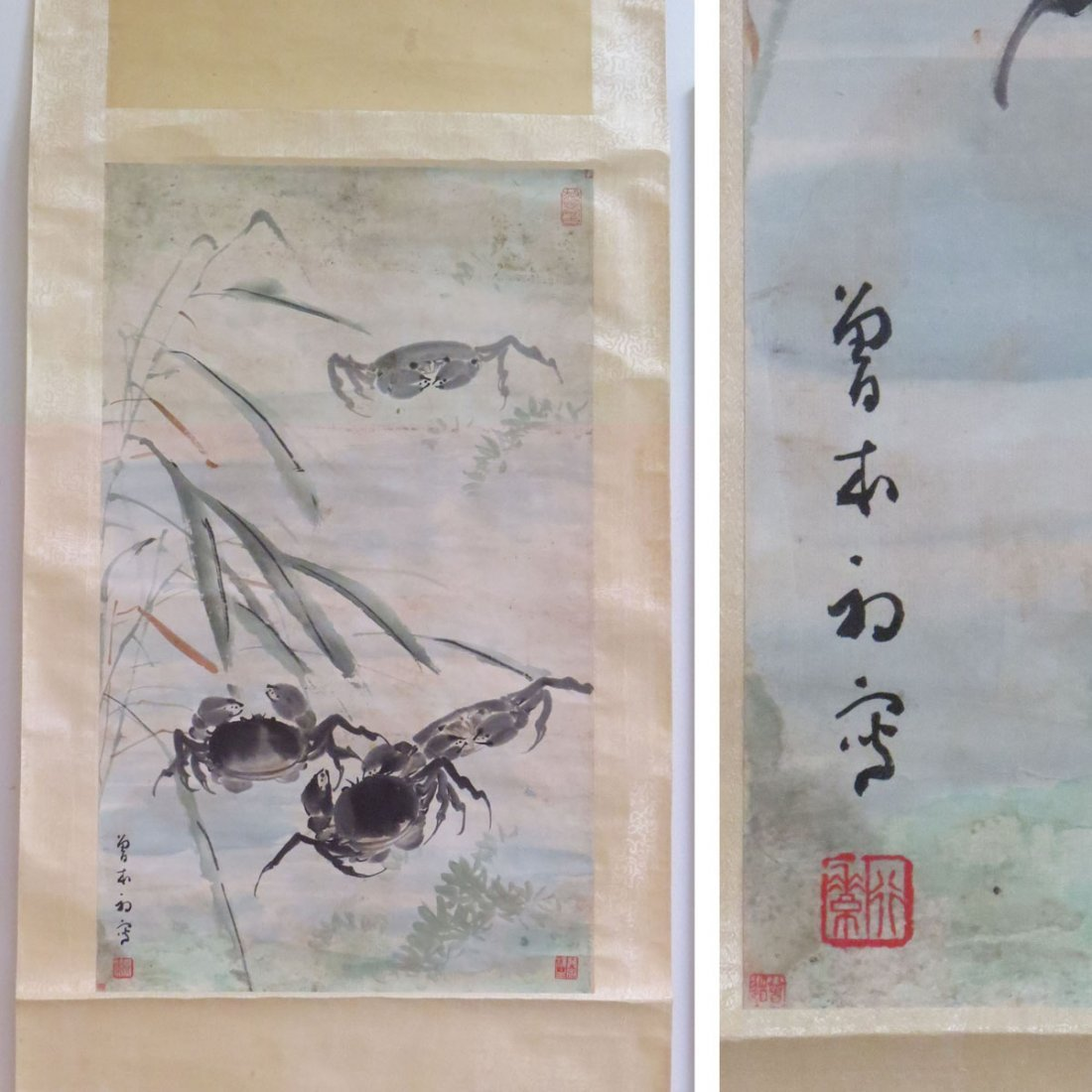 CHINESE SCROLL PAINTING ON PAPER, CRABS, SIGNED