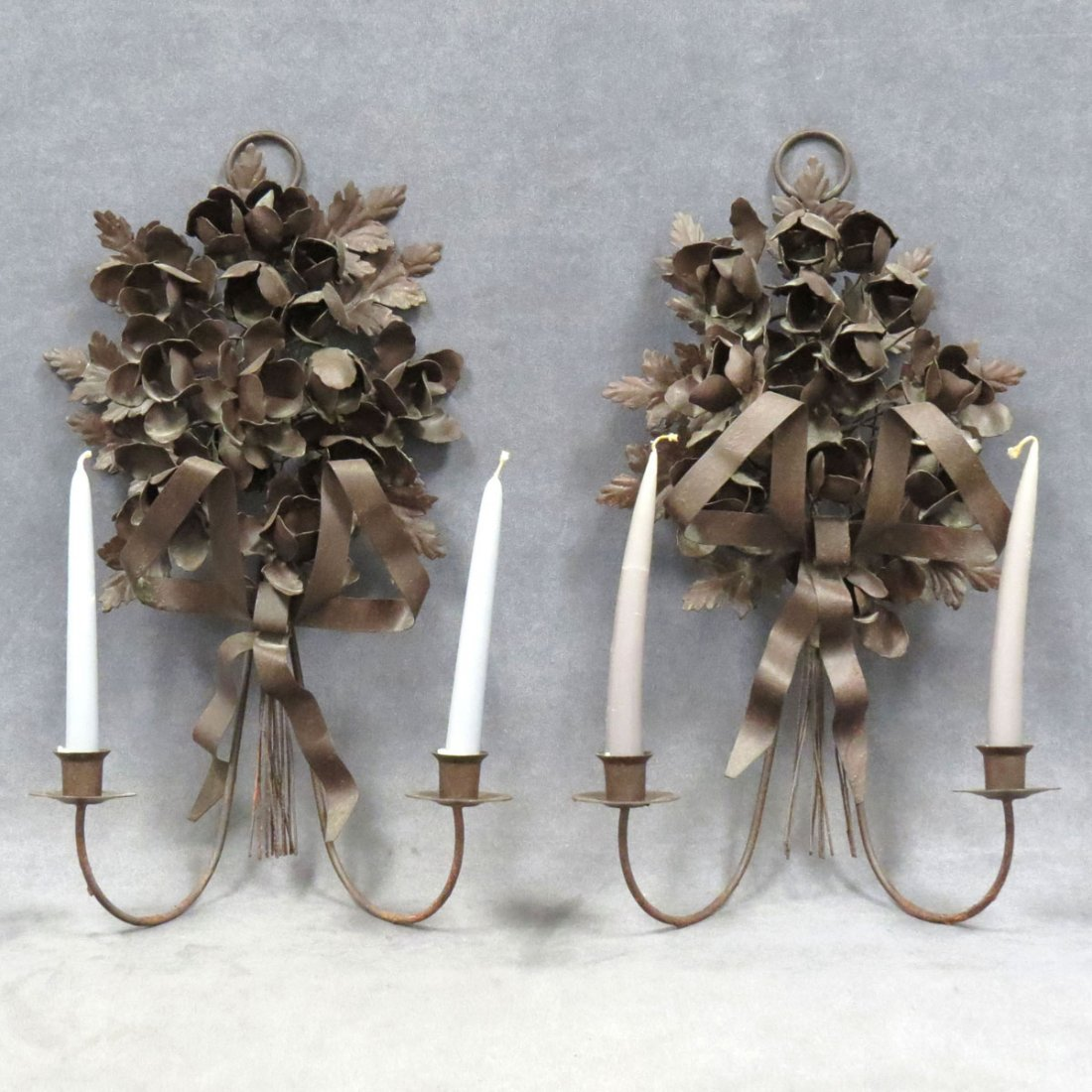 PAIR FRENCH STYLE METAL CANDLE SCONCES
