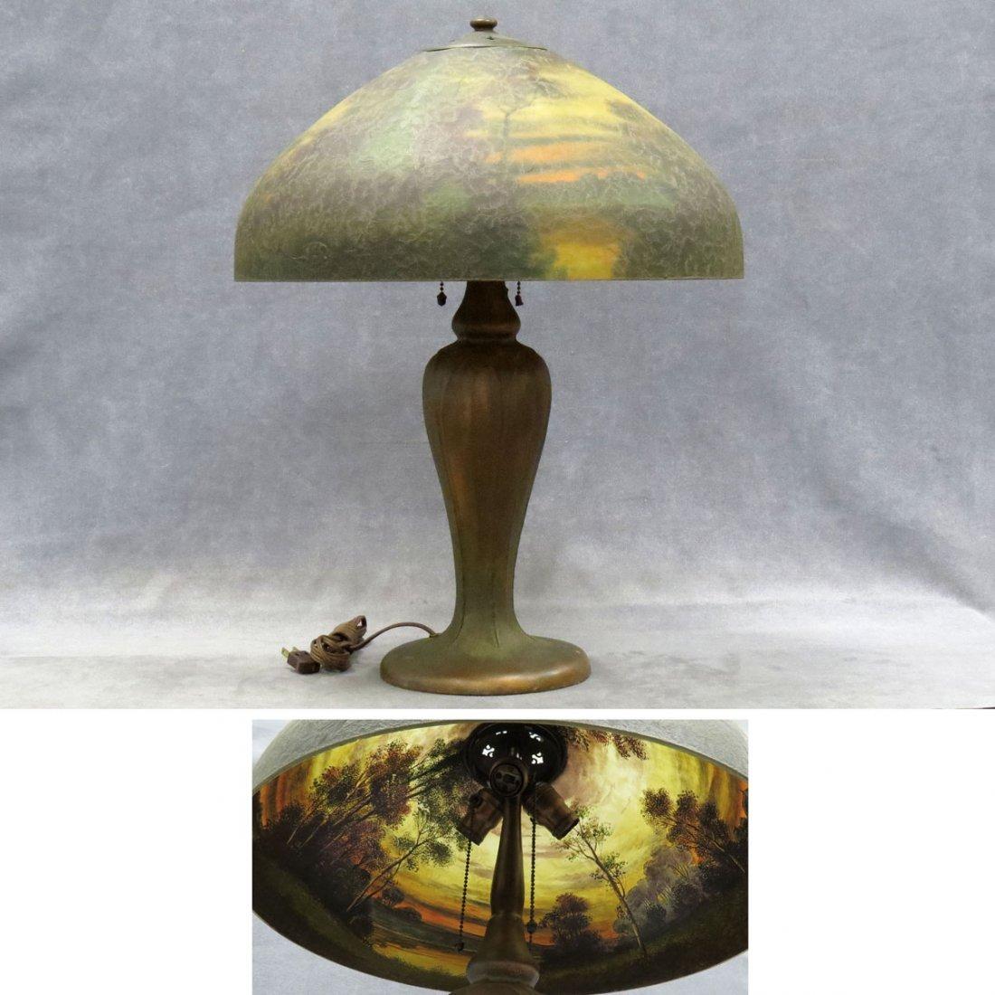 VINTAGE HANDEL REVERSE PAINTED TABLE LAMP