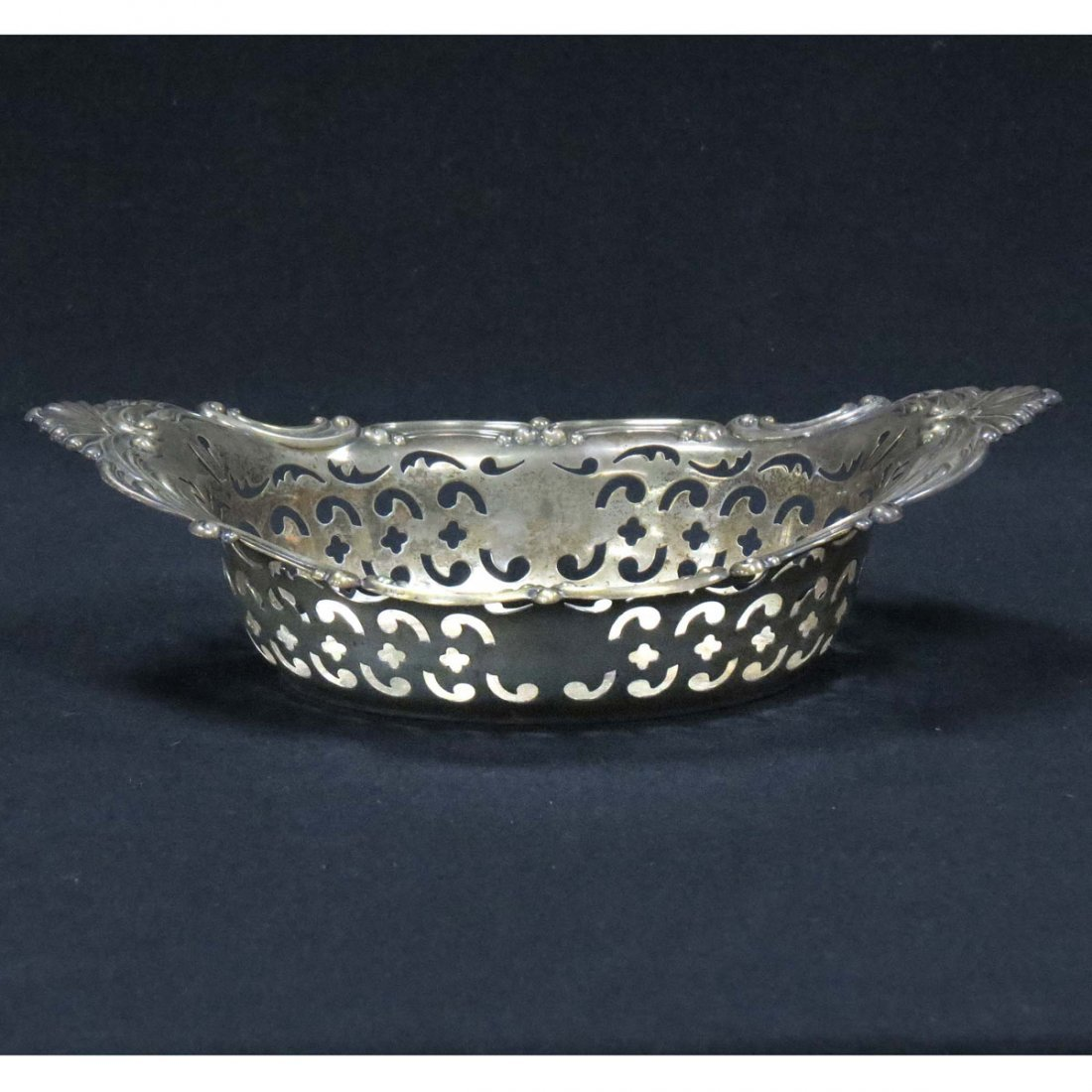 GORHAM STERLING RETICULATED OVAL DISH, MONOGRAMMED