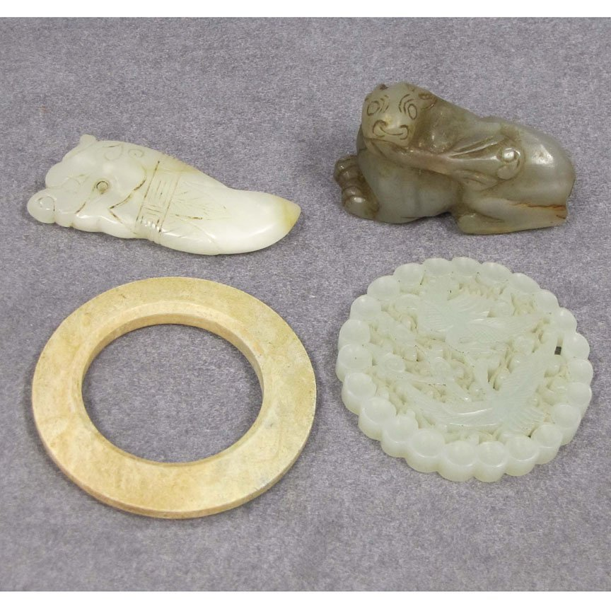 LOT (4) ASSORTED CHINESE CARVED JADE