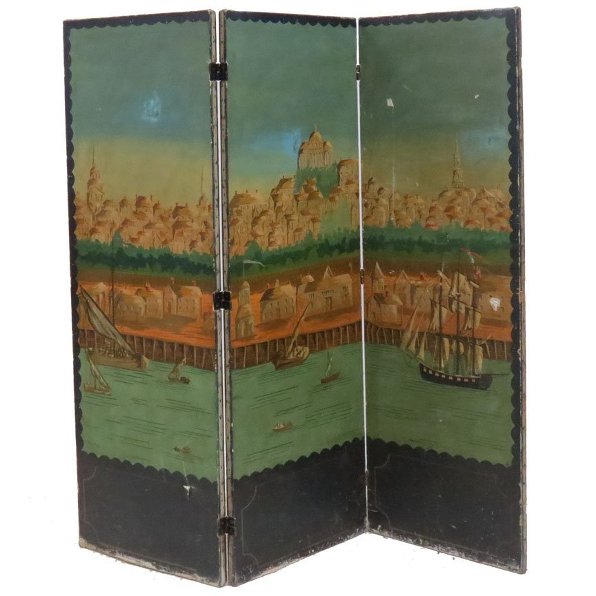 VINTAGE CONTINENTAL HAND PAINTED 3-PANEL SCREEN