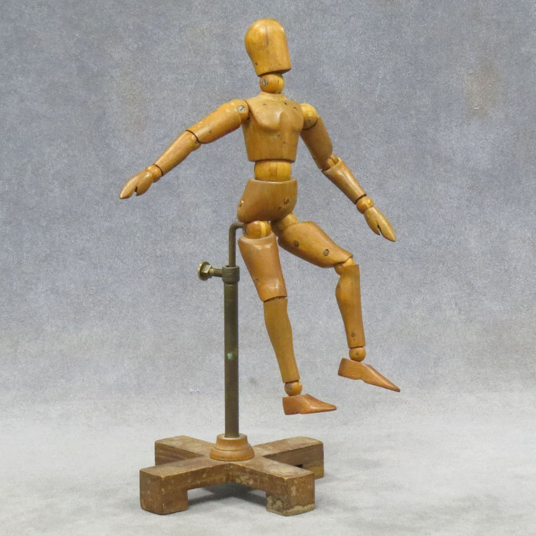 VINTAGE ARTICULATED ARTIST'S WOOD MODEL WITH STAND