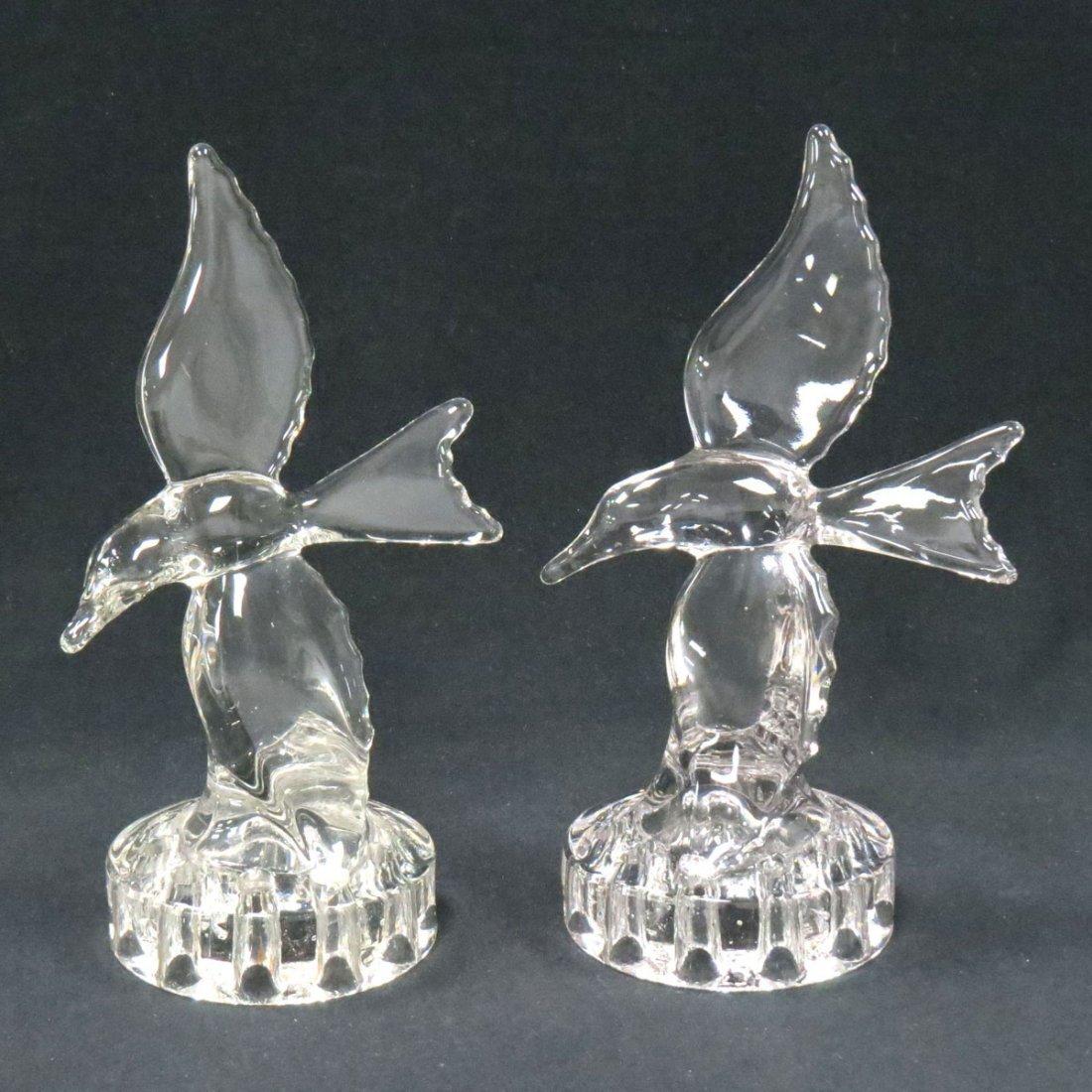 PAIR ART DECO GLASS BIRD-FORM FLOWER FROGS