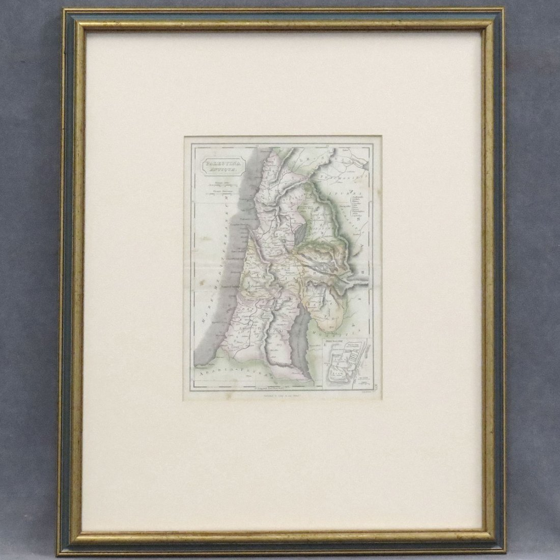 HAND COLORED ENGRAVED MAP OF PALESTINE