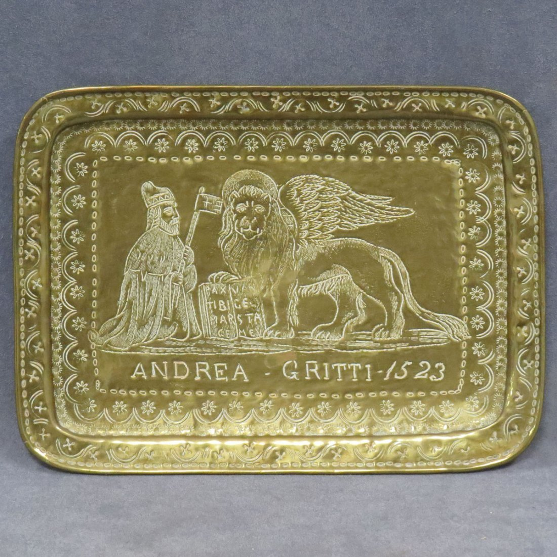 """ENGRAVED BRASS TRAY """"ANDREA-GRITTI-1523"""""""