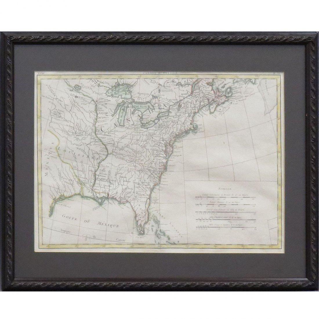 RIGOBERT BONNE, ENGRAVED MAP OF CANADA/EASTERN