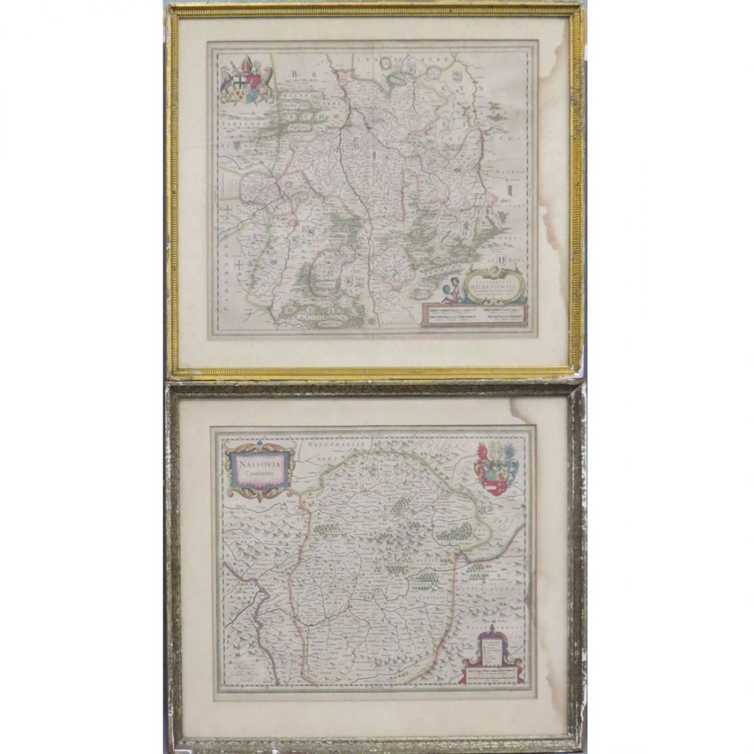 LOT (2) ITALIAN HAND COLORED ENGRAVED MAPS