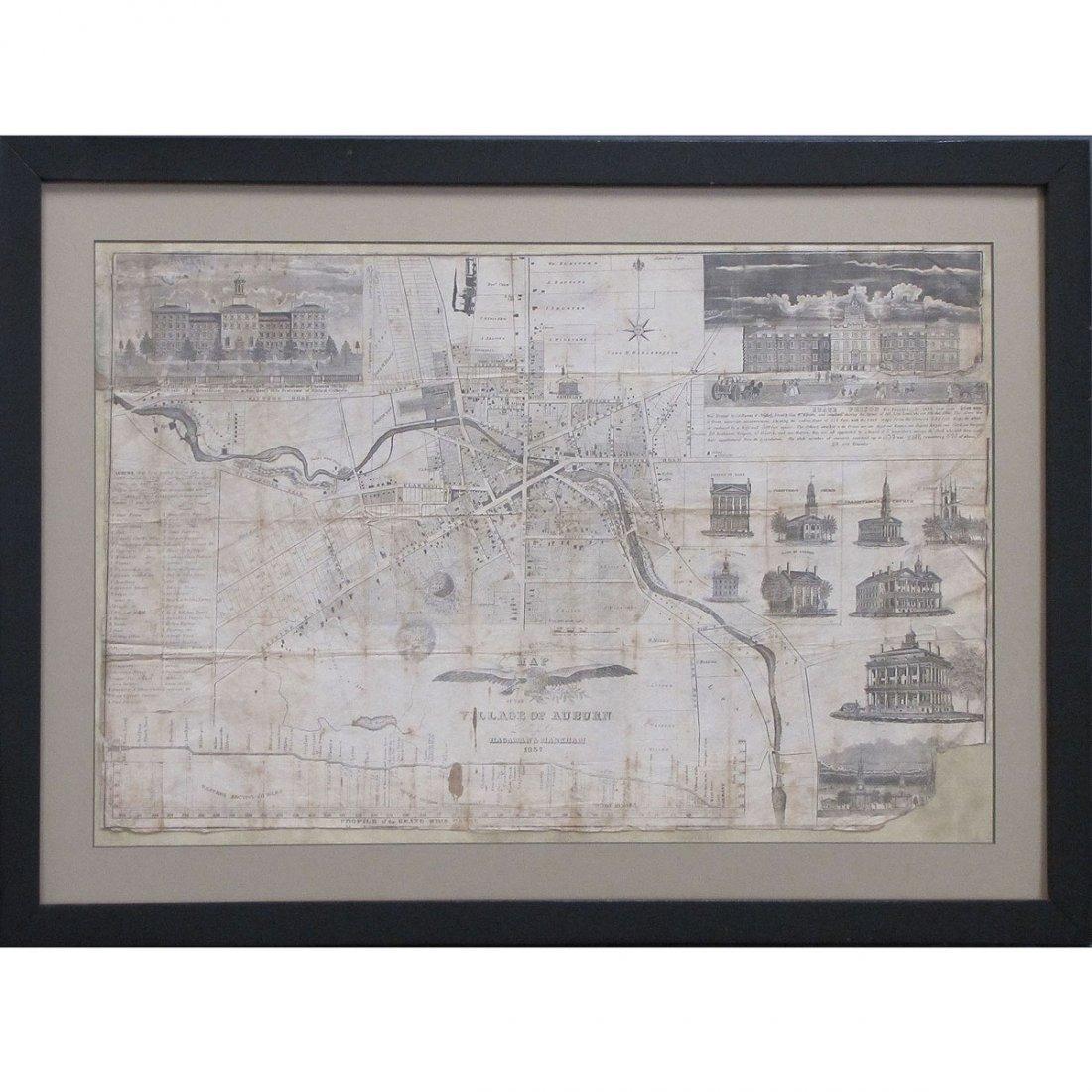 HAGAMAN & MARKHAM ENGRAVED MAP OF AUBURN, NY 1837