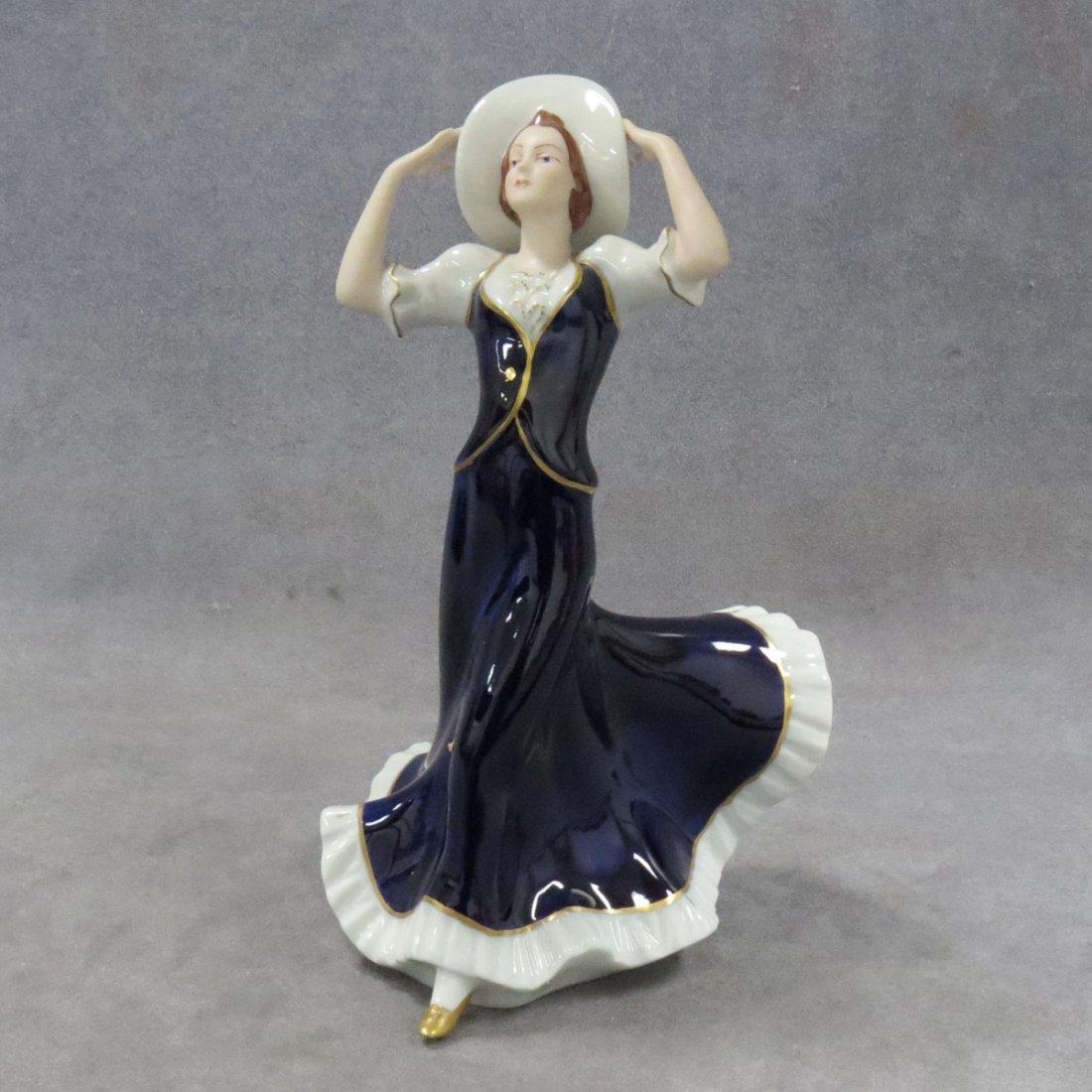 ROYAL DUX COBALT PORCELAIN FIGURE, WOMAN WITH HAT