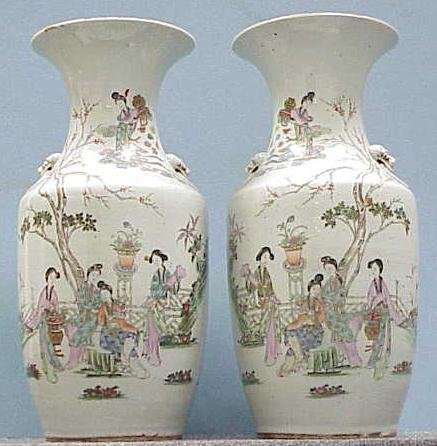9: PAIR CHINESE FAMILLE ROSE URNS, CHING